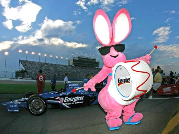 The Energizer Bunny makes an appearance on the grid before the start of the IRL IndyCar Series Firestone Indy 200 on July 12, 2008.