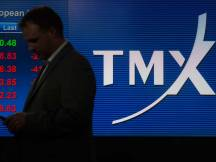 Toronto's TMX office and ticker board at the First Canadian Place.