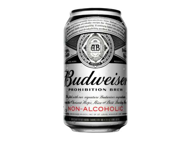 "A can of Budweiser ""Prohibition Brew"" non-alcoholic beer."