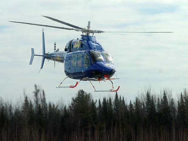 The Bell 429 helicopter does a flight demonstration at the Bell Helicopter Textron Canada Limited head office in Mirabel, Quebec.
