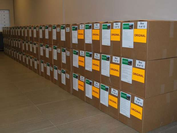 "The new 38,885-page document fits into 12 boxes and was submitted at the federal energy regulator's request because the initial application was deemed too ""difficult even for experts to navigate."""