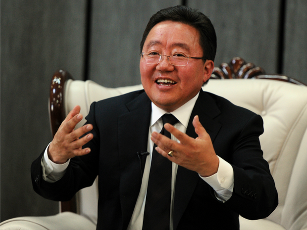 Mongolia's President Tsakhia Elbegdorj answers questions at a press conference for international media
