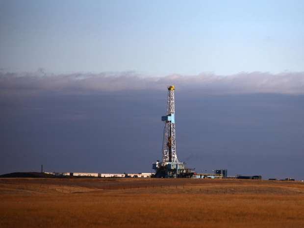 An oil drilling rig in North Dakota.