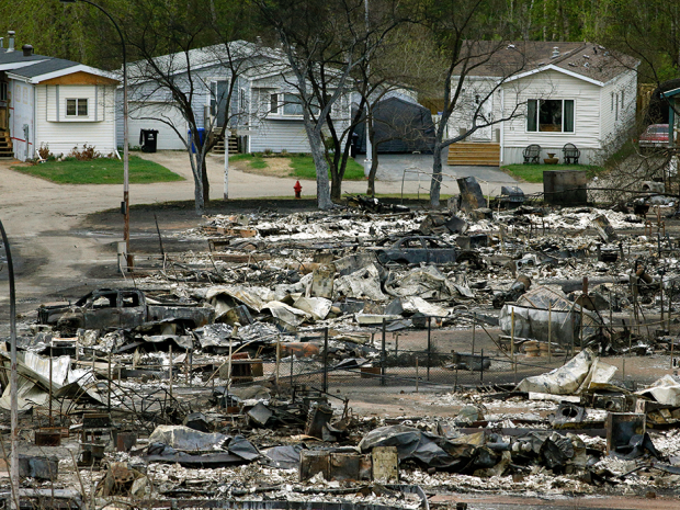 Homes in Fort McMurray were devastated by a massive wildfire that forced the entire evacuation of the town.