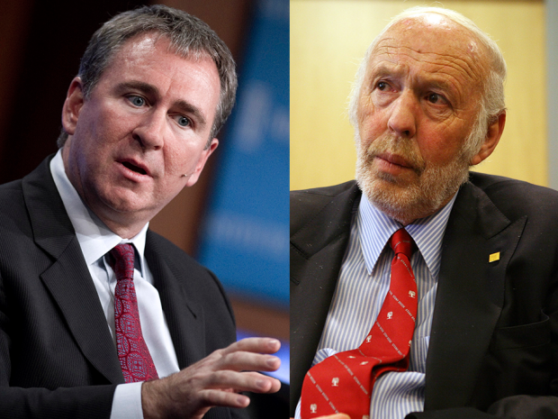 Hedge fund managers Kenneth Griffin, left, and James Simons both earned over US$1 billion each in 2015.