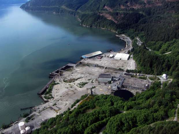 An October 2014 handout photo of The Woodfibre LNG Project is a proposed small-scale liquefied natural gas (LNG) processing and export facility, located approximately seven kilometres southwest of Squamish, B.C.