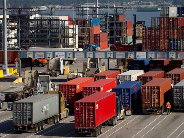 Statistics Canada says exports in March fell 4.8 per cent to $41.0 billion. Ten of 11 sectors declined, led by motor vehicles and parts, consumer goods, and metal and non-metallic mineral products.