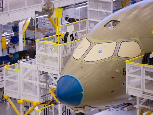 A Bombardier CSeries assembly line is shown at its plant in Mirabel, Que. JetBlue resumed talks with Bombardier about a possible order of the planemaker's CSeries aircraft, after a pause in discussions earlier this year, people familiar with the matter said.
