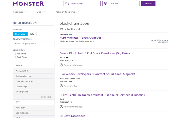 Monster blockchain jobs